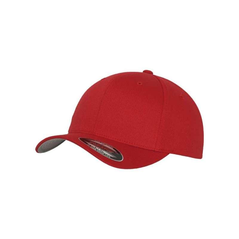 Flexfitkeps, röd 6277 med böjd skärm