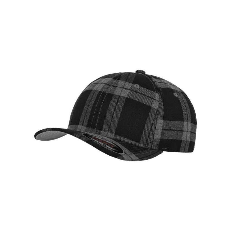 Flexfitkeps, svart/grå 6197 Tartan Plaid med böjd skärm