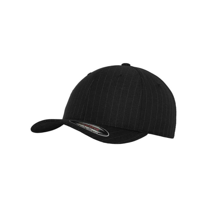 Flexfitkeps, svart/vit 6195 Pinstripe med böjd skärm
