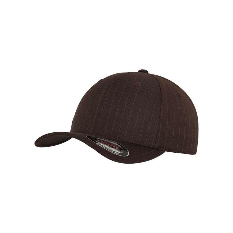 Flexfitkeps, brun/vit 6195 Pinstripe med böjd skärm